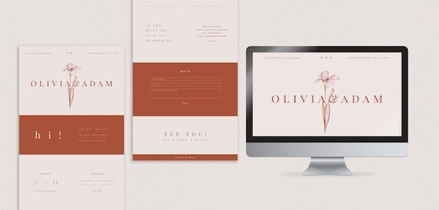 Elegante bruiloft webpagina sjabloon