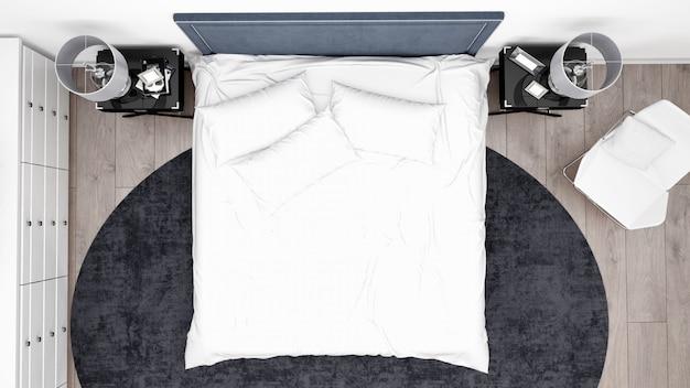 Elegante camera da letto o camera d'albergo con mobili classici, vista dall'alto