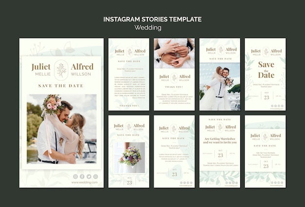 Elegante collezione di instagram post per il matrimonio