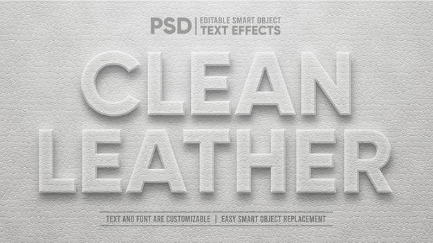 Elegante cuero limpio en relieve efecto de texto editable en 3d