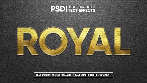 Elegante cuero negro real con sello dorado en relieve efecto de texto editable