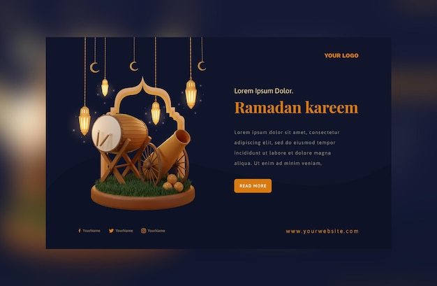Elegante decoración de ramadán mubarak festival de farolillos árabes dorados