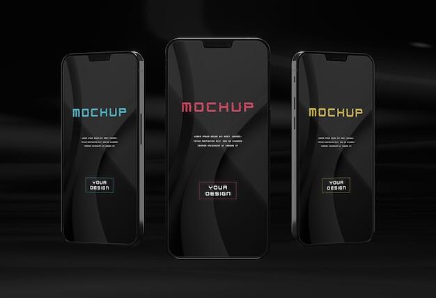 Elegante diseño de maqueta de smartphone oscuro brillante