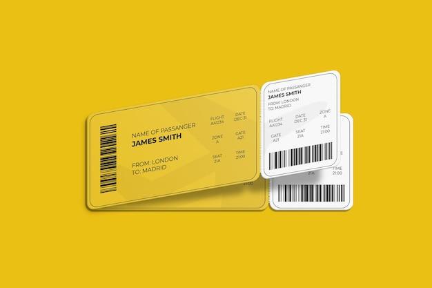 Elegante diseño de maqueta de tarjeta de embarque o boleto de avión con esquinas redondeadas