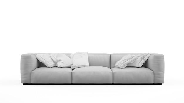 Elegante divano grigio con cuscini isolati