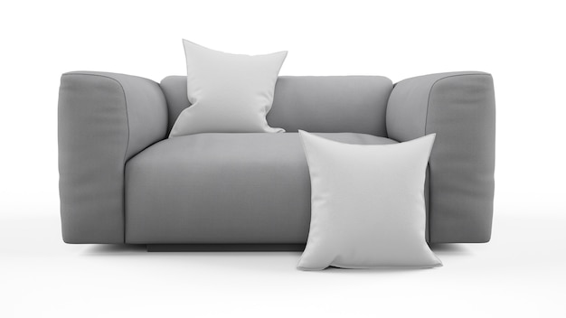 Elegante divano grigio, monoposto