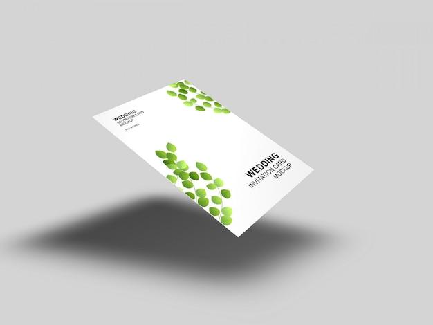 Elegante eenvoudige en schone bruiloft kaart met envelop mockup sjabloon