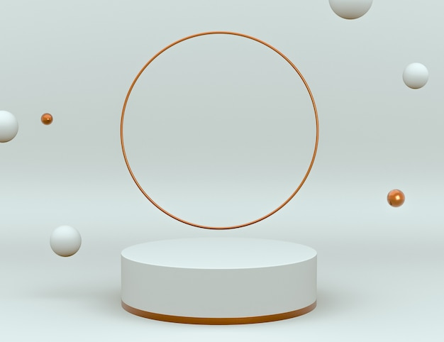 Elegante escena 3d en blanco y latón con podio para la colocación del producto y color editable