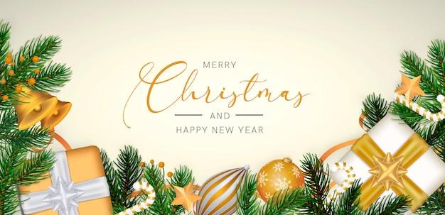 Elegante fondo navideño en estilo realista con decoración dorada