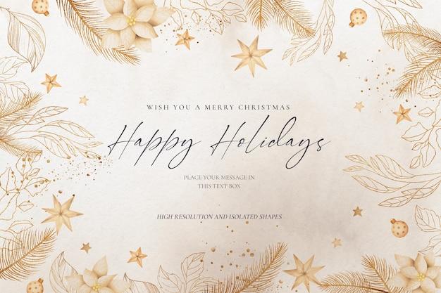 Elegante fondo navideño con naturaleza dorada y adornos.