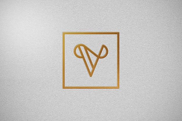 Elegante gouden logo mockup met wit papier