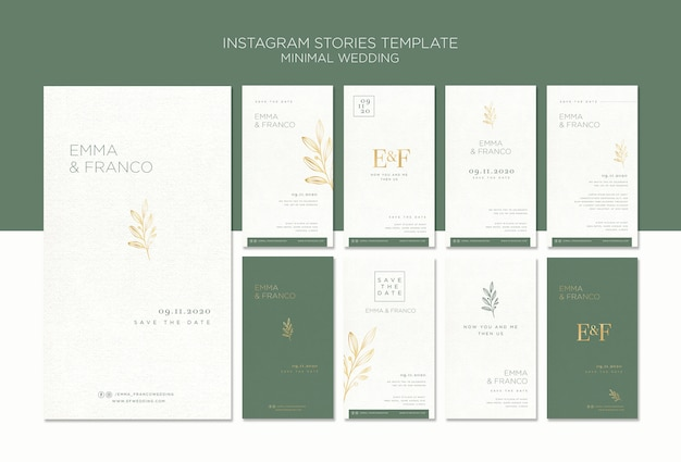Elegante instagram verhalencollectie voor bruiloft Gratis Psd