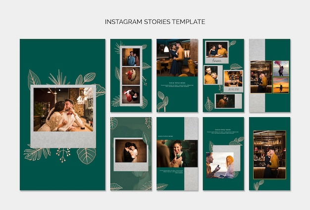 Elegante instagramverhalenmalplaatjes voor huwelijk
