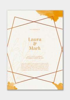 Elegante invitación de boda con acuarela dorada.
