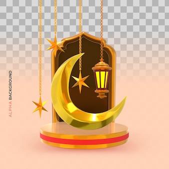 Elegante islamitische nieuwe jaar creatieve compositie. 3d illustratie