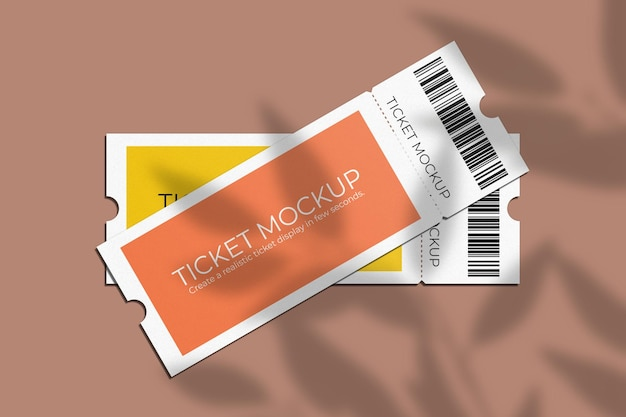 Elegante maqueta de cupón o ticket con superposición de sombras