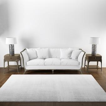 Elegante maqueta de diseño interior de sala de estar con muebles de madera.