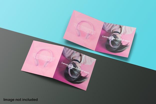 Elegante maqueta de folleto plegable cuadrado doble