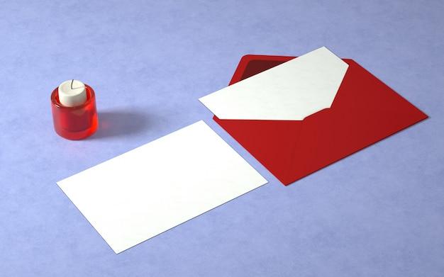 Elegante maqueta de tarjeta y sobre con vela.