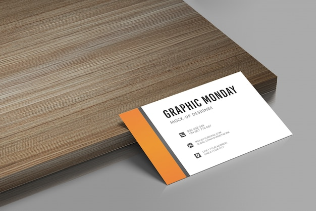 Elegante maqueta de tarjeta de visita de fondo de madera realista psd gratis