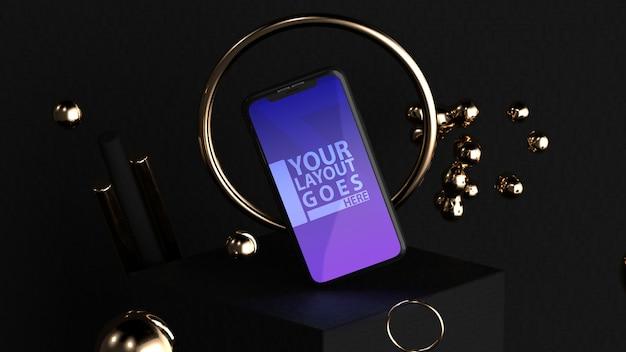 Elegante maqueta de teléfono inteligente dorada y negra