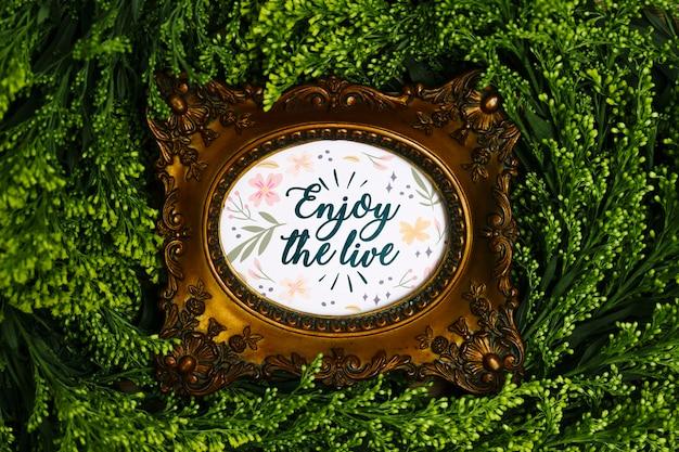Elegante marco con letras rodeadas de vegetación.