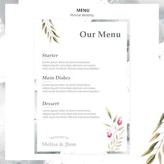 Elegante menú de bodas con entrante