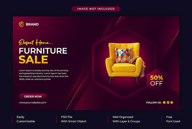 Elegante meubelen verkoop promotionele webbanner of sjabloon voor spandoek van sociale media