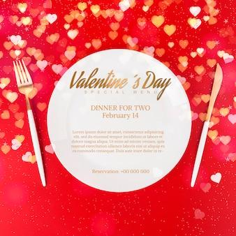 Elegante mockup di cena per san valentino