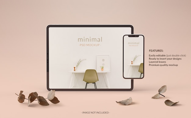 Elegante mockup voor tablet en telefoon met planten