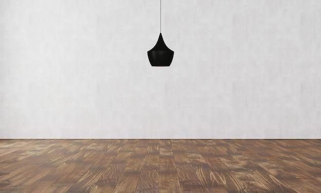 Elegante muur met moderne lamp en parket