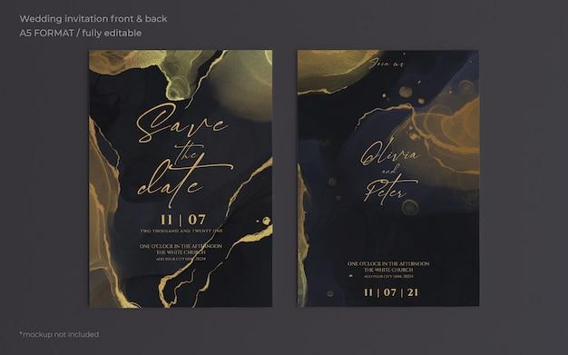 Elegante plantilla de invitación de boda negra y dorada