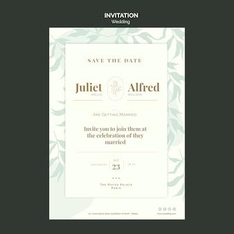 Elegante plantilla de invitación para boda