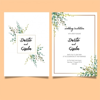 Elegante plantilla de tarjeta de invitaciones de boda de hoja