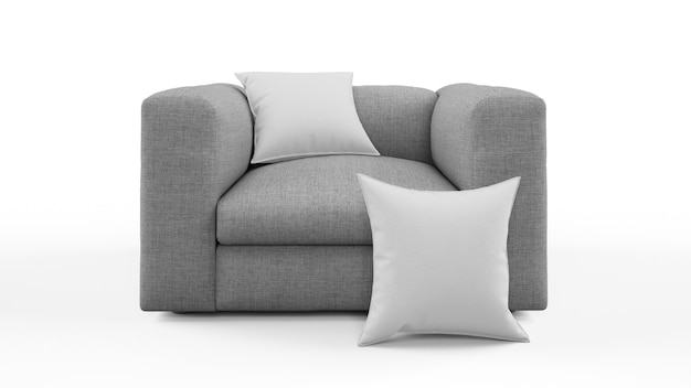 Elegante poltrona grigia con cuscino isolato