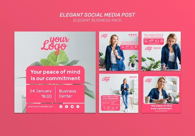 Elegante post op sociale media met foto's van vrouwelijke personages