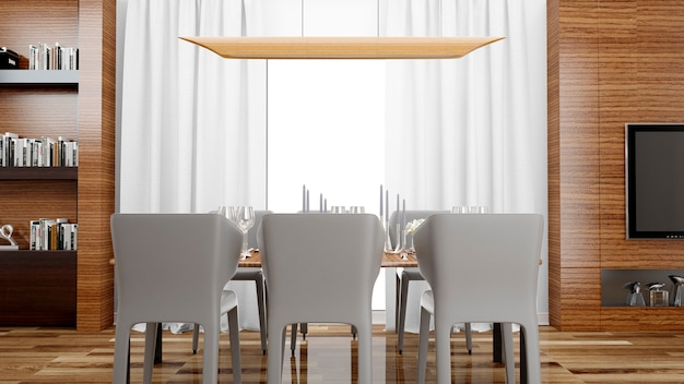 Elegante sala da pranzo con tavolo