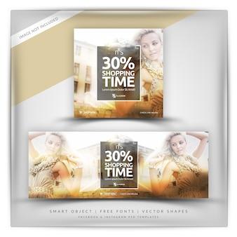 Elegante shopping instagram e banner di facebook