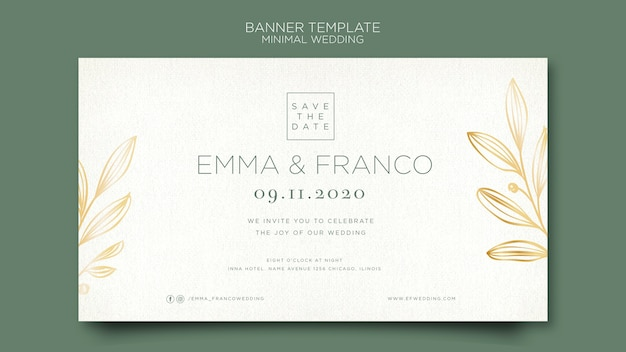 Elegante sjabloon voor spandoek voor bruiloft