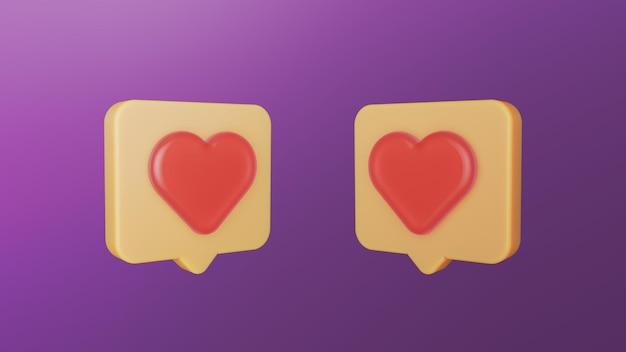 Elegante sociale media houden van en houden van 3d-pictogram
