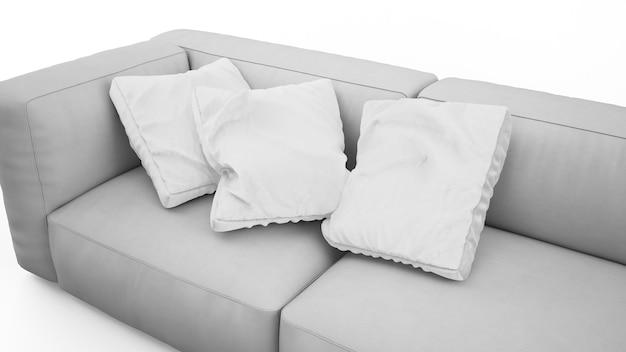 Elegante sofá gris con cojines aislados