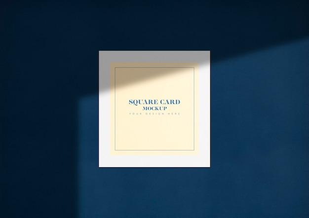 Elegante tarjeta cuadrada maqueta con sombra