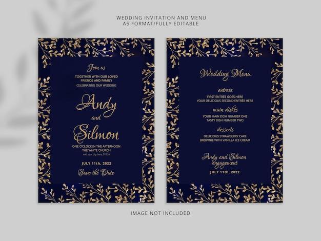Elegante tarjeta de invitación de boda con hermosas flores doradas psd premium