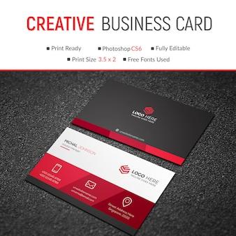 Elegante tarjeta de visita roja
