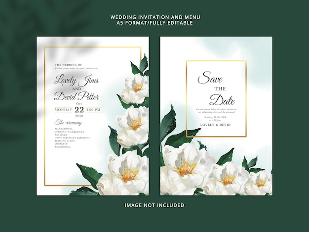 Elegante, terwijl bloemen bruiloft uitnodigingskaart psd premium-sjabloon