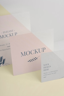 Elegante uitnodiging mock-up assortiment