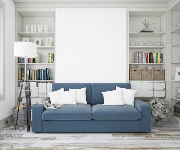 Elegante woonkamer met een bank en een mockupmuur