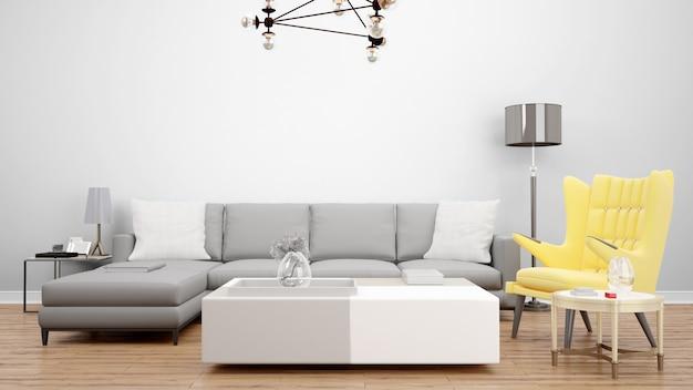 Elegante woonkamer met grijze bank en gele fauteuil, interieurideeën