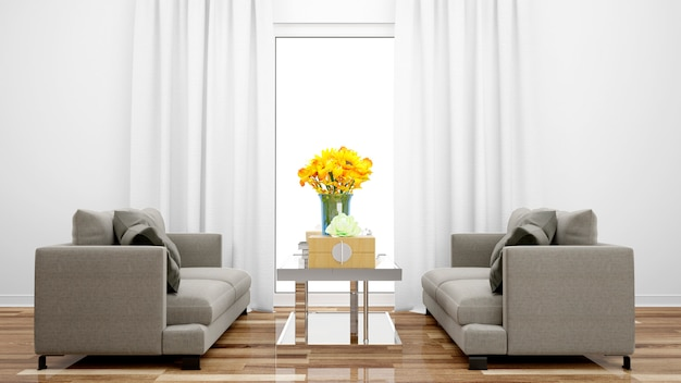 Elegante woonkamer met grijze bank en middentafel