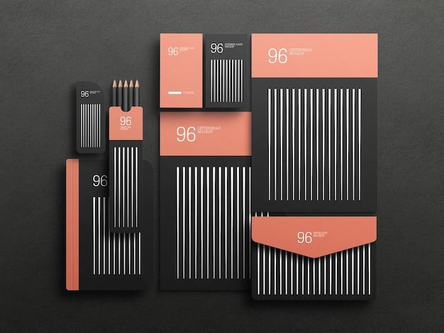 Elegante zwarte stationaire set mockup